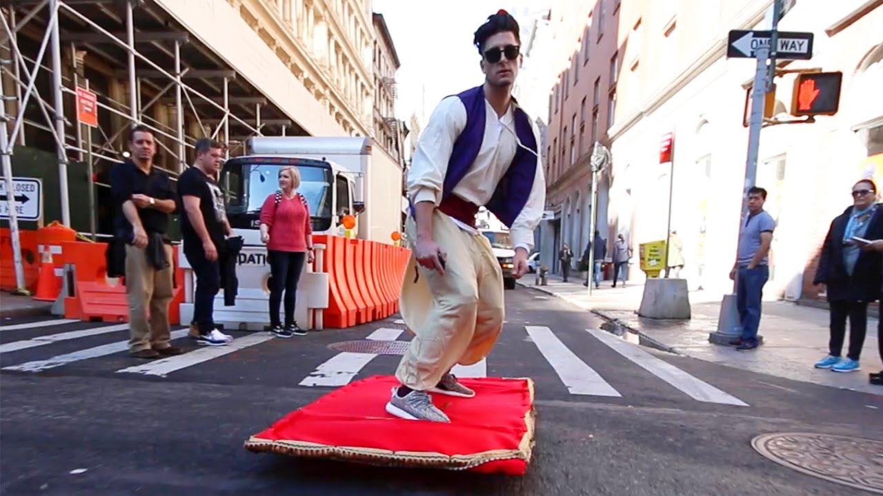 Aladdin magic carpet prank