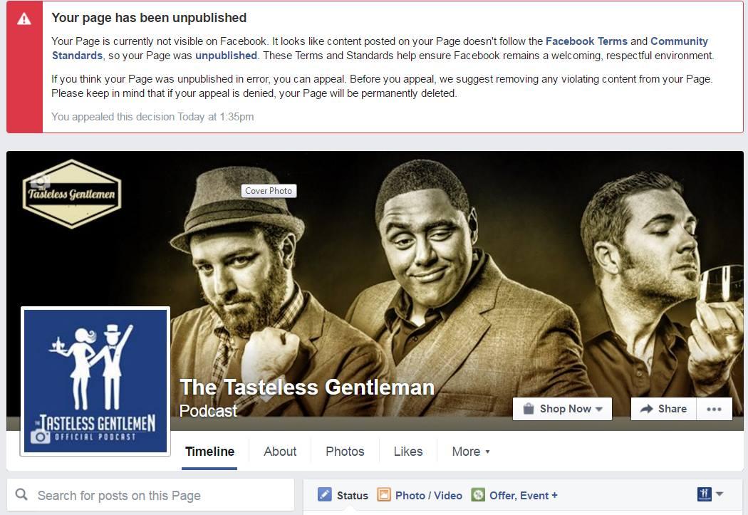 Facebook Unpublished The Tasteless Gentlemen